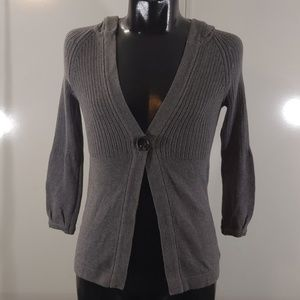 Loft Gray Hooded Knit Cardigan